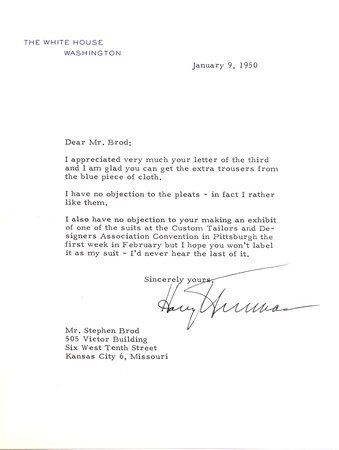 """stephen Brod"" tailor suits ""white house"", letter, letters, president, Truman ""harry truman"" ""president truman"", ""president harry s truman"", ""harry s truman"" chrisandersonimaging ""christopher anderson"